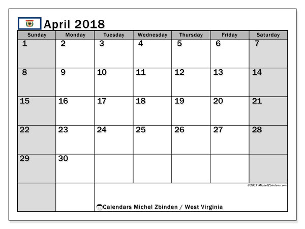 Calendar April 2018, with the holidays of West Virginia. Free calendar to print.