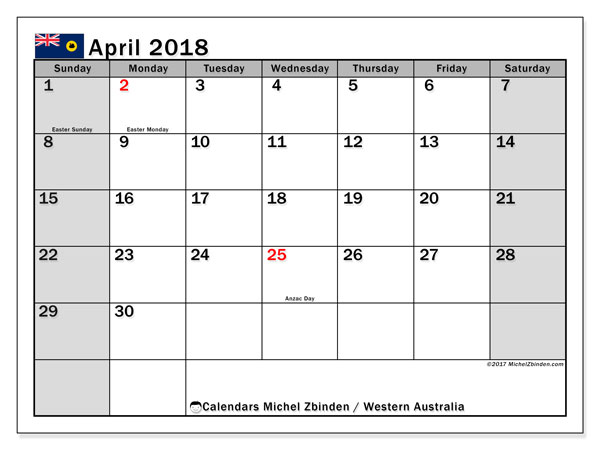 Calendar April 2018, with the holidays of Western Australia. Free printable calendar.