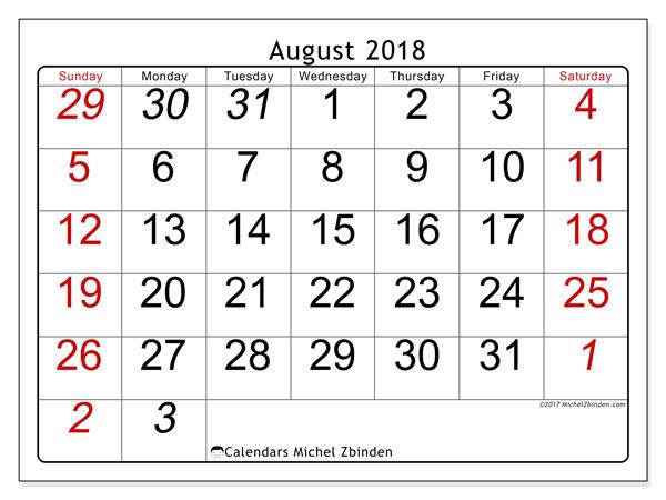 Calendar August 2018 (72SS). Calendar to print free.