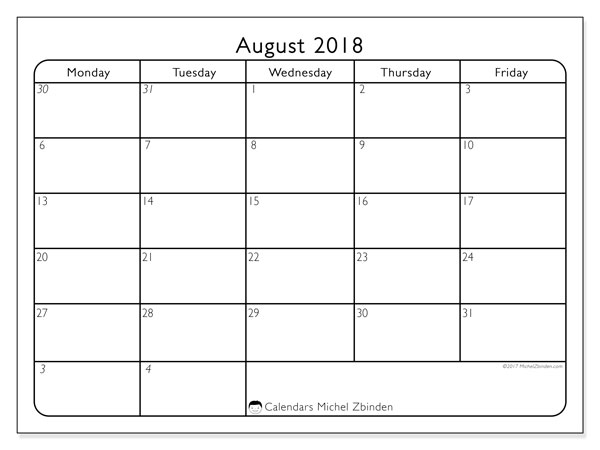 printable calendars august 2018