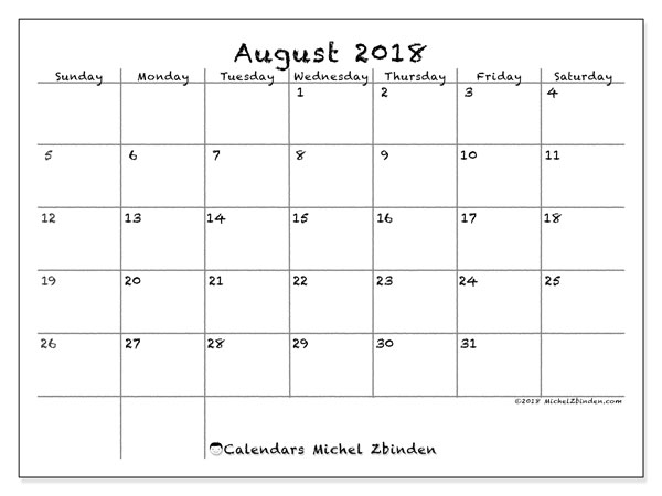 photo about Printable Monthly Calendar August named Calendar August 2018 (77SS) - Michel Zbinden EN