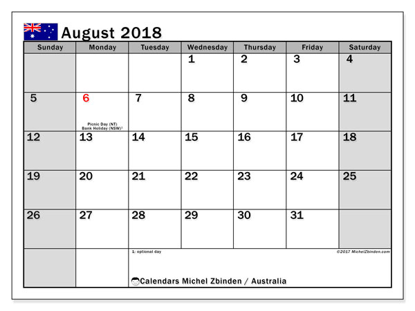 Calendar August 2018, with the holidays of Australia. Free bullet journal to print.