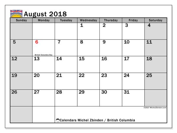 Calendar August 2018, with the holidays of British Columbia. Free printable calendar.