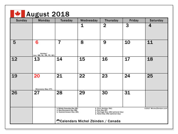 Calendar August 2018, with the holidays of Canada. Calendar to print free.