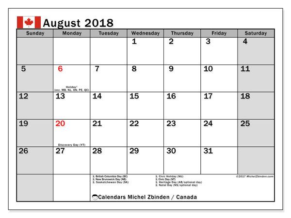 Calendar August 2018 Canada Michel Zbinden En