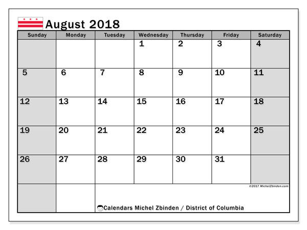 Calendar August 2018 - District of Columbia