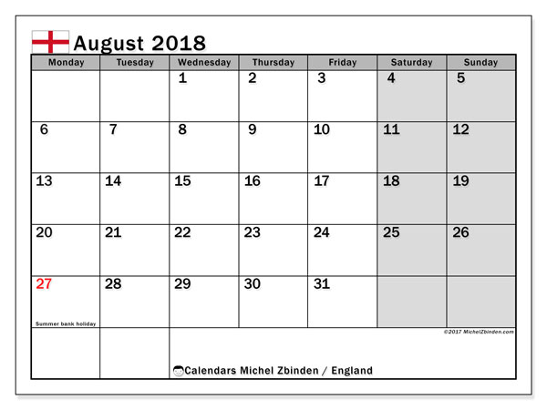 Calendar August 2018, with the holidays of England. Free printable monthly planner.
