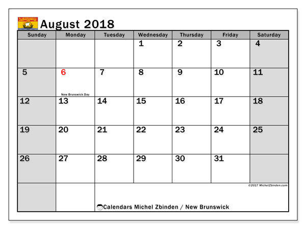 Calendar August 2018, with the holidays of New Brunswick. Planner to print free.
