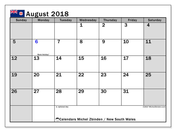 Calendar August 2018, with the holidays of New South Wales. Monthly calendar to print free.