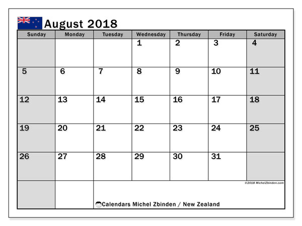 Calendar August 2018, with the holidays of New Zealand. Free printable monthly planner.