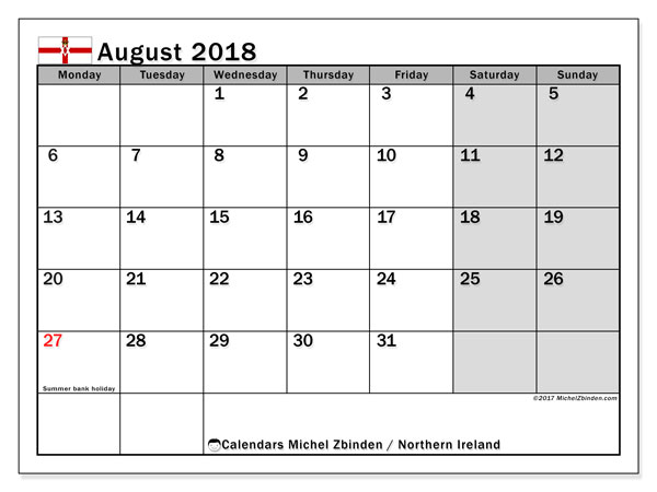 Calendar August 2018, with the holidays in Northern Ireland. Bullet journal to print free.