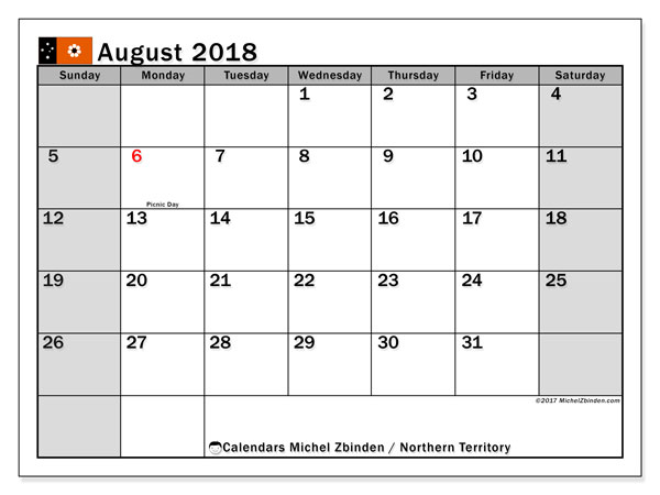 Calendar August 2018, with the holidays of Northern Territory. Free calendar to print.