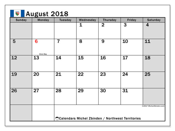 Calendar August 2018, with the holidays of Northwest Territories. Free printable monthly planner.