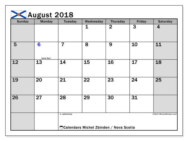 Calendar August 2018, with the holidays of Nova Scotia. Free printable monthly planner.