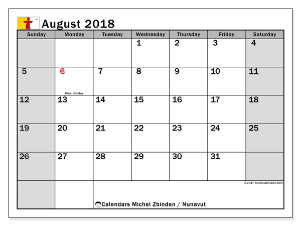 Calendar August 2018, with the holidays of Nunavut. Monthly calendar to print free.