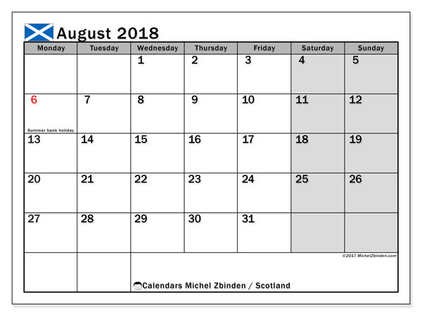 Calendar August 2018, with the holidays of Scotland. Free printable planner.