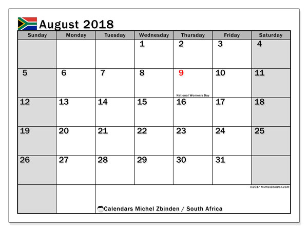 Calendar August 2018, with the holidays of South Africa. Free planner to print.