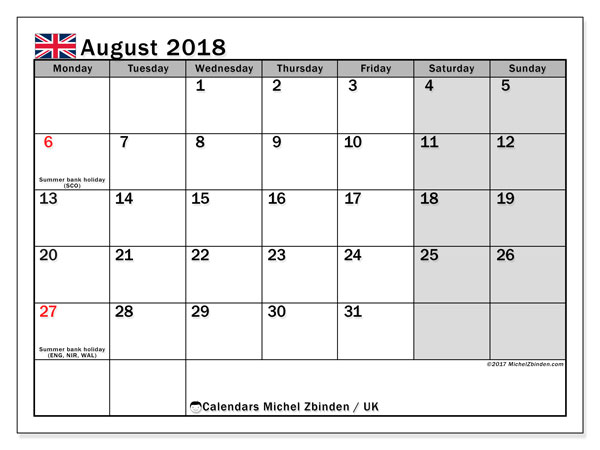 Calendar August 2018, with the holidays of the UK. Monthly planner to print free.
