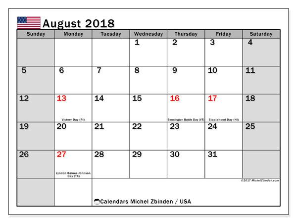 Calendar August 2018, USA