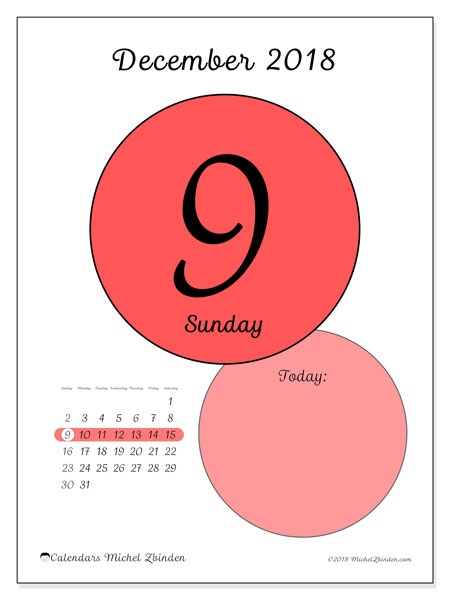 Calendar December 2018 (45-9SS). Free printable daily calendar.