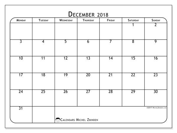 Calendar December 2018 (51MS). Bullet journal to print free.