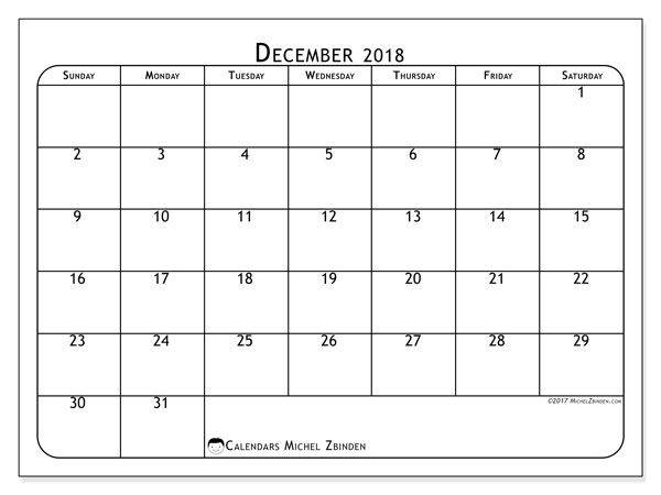 Calendar December 2018 (51SS). Free printable planner.