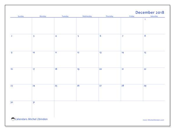 Calendar December 2018 (55SS). Free printable calendar.