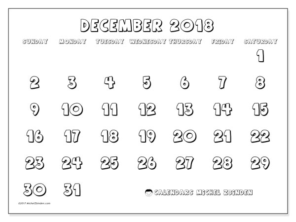 Calendar December 2018 (56SS). Calendar to print free.