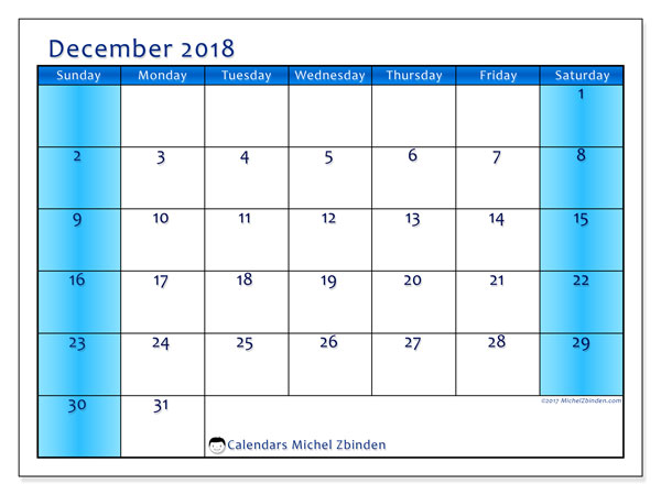 Calendar December 2018 (58SS). Bullet journal to print free.