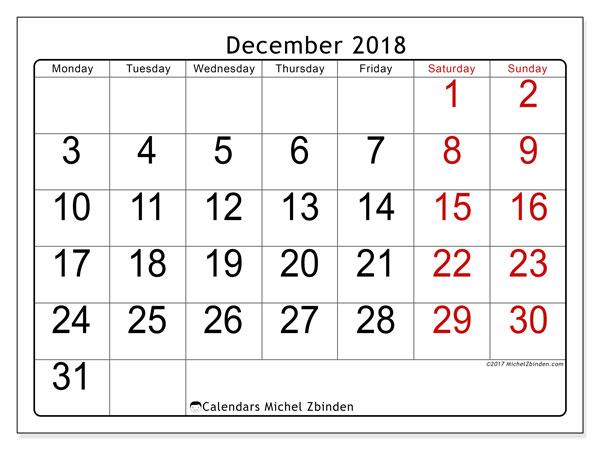 calendar december 2018 62ms