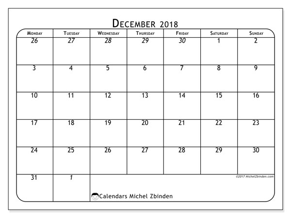Calendar December 2018 (67MS). Planner to print free.