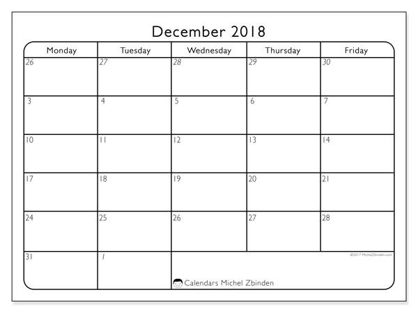 printable monthly calendar december 2018