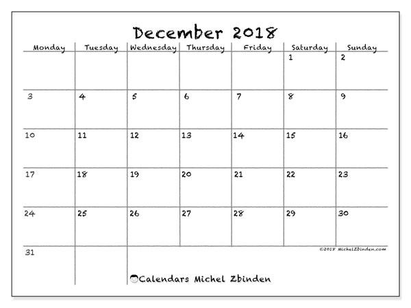 calendar december 2018 77ms