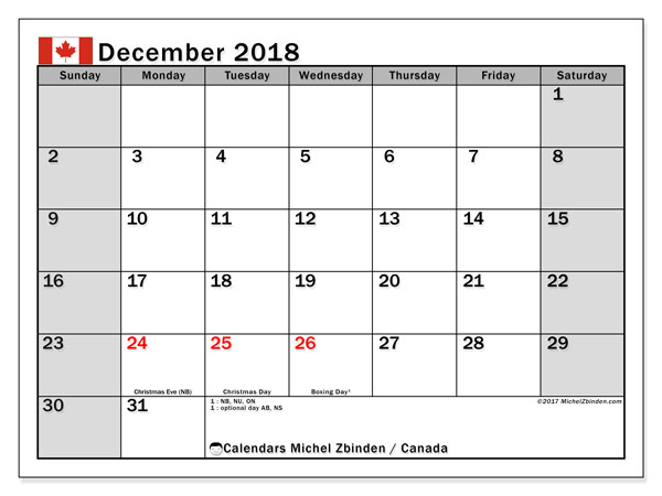 Calendar December 2018, with the holidays of Canada. Free printable monthly calendar.