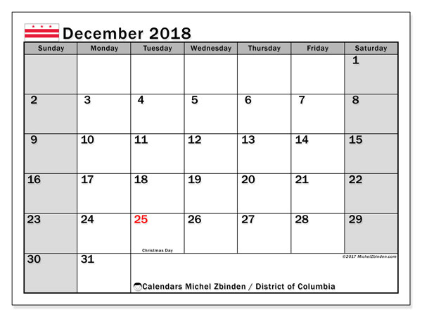 Calendar District of Columbia, December 2018
