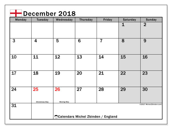 Calendar December 2018, with the holidays of England. Bullet journal to print free.