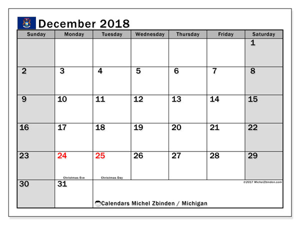 Calendar Michigan, December 2018