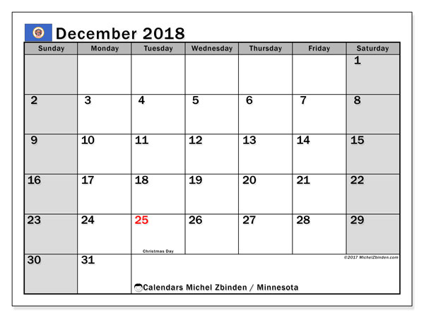 Calendar December 2018, with the holidays of Minnesota. Free planner to print.