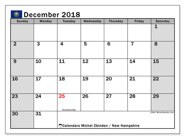 Calendar New Hampshire, December 2018