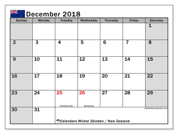 Calendar December 2018, with the holidays of New Zealand. Monthly calendar to print free.