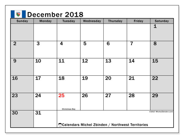 Calendar December 2018, with the holidays of Northwest Territories. Free printable bullet journal.