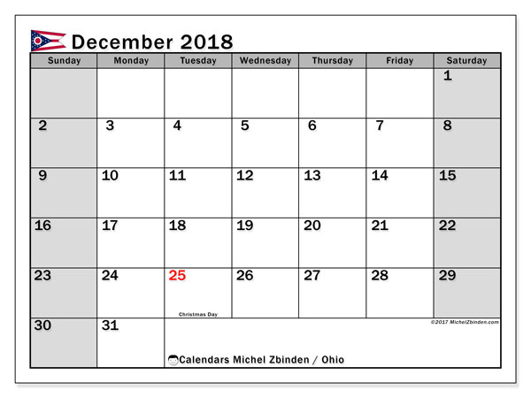 Calendar December 2018, with the holidays of Ohio. Free printable monthly calendar.