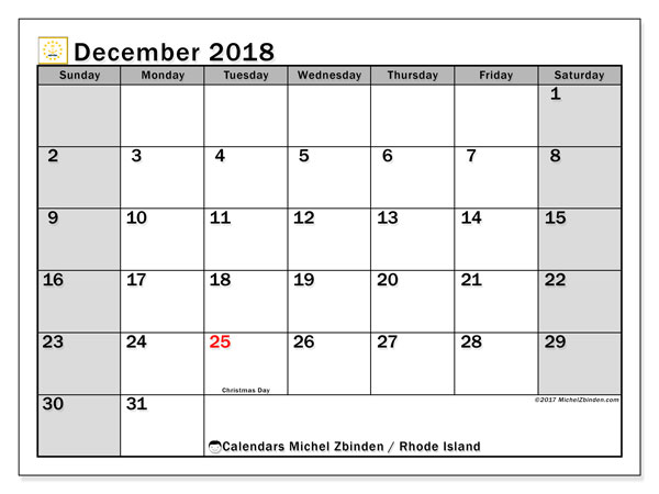 Calendar December 2018, with the holidays of Rhode Island. Free calendar to print.