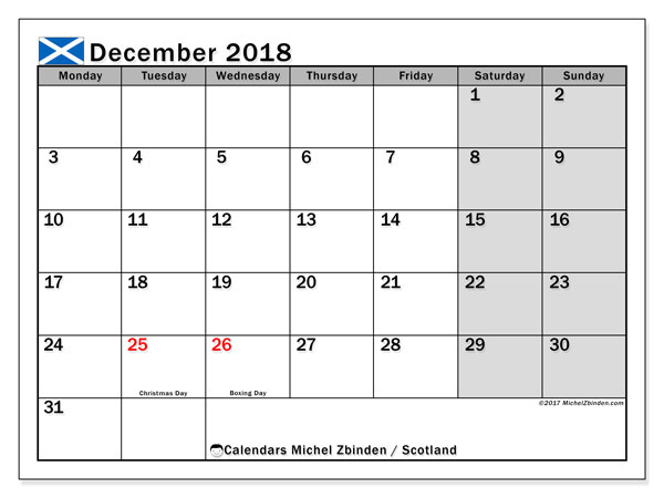 Calendar December 2018, with the holidays of Scotland. Planner to print free.