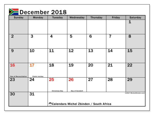 Calendar December 2018, with the holidays of South Africa. Monthly planner to print free.