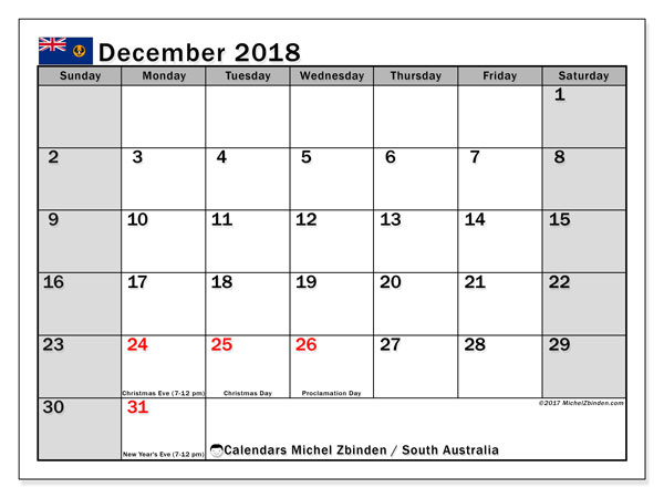 Calendar December 2018, with the holidays of South Australia. Free planner to print.