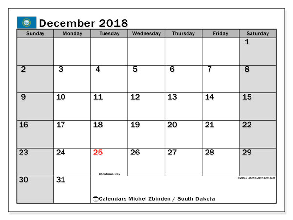 Calendar South Dakota, December 2018