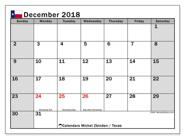 Calendar December 2018, with the holidays of Texas. Free printable monthly planner.