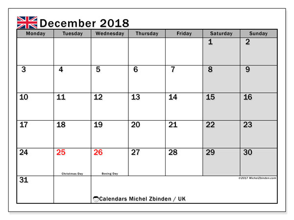 Calendar December 2018, with the holidays of the UK. Planner to print free.