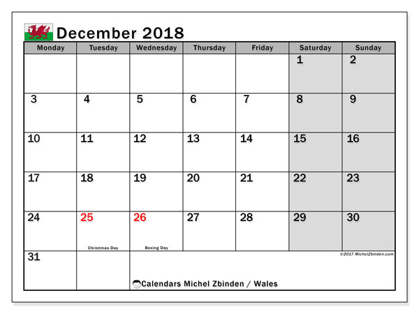 Calendar December 2018, with the holidays of Wales. Free bullet journal to print.